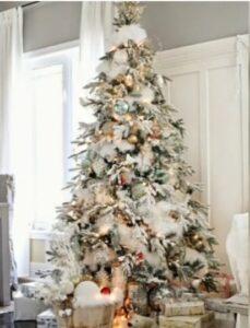 Árbol de Navidad Blanco con luces decorado